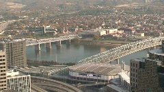 Central and John A Roebling Bridges from Cincinnati Stock Footage