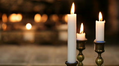 fireplace and candles - stock footage