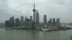 Large view of Shanghai Pudong river and Orient Pearl - Time Lapse day to night Stock Footage