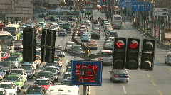 Downtown Shanghai heavy car trafic - Timelapse Stock Footage