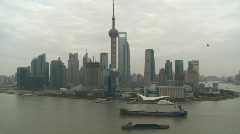 Stock Video Footage of Shanghai Pudong River and Orient Pearl cloudy Time Lapse