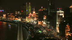 Large view at night of Shanghai Bund - Time Lapse Stock Footage