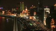 Stock Video Footage of Large view at night of Shanghai Bund - Time Lapse