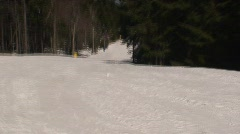 Downhill Skiing Perspective at Snowshoe Mountain Stock Footage