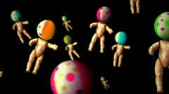 Baby dolls with beach ball heads Stock Footage
