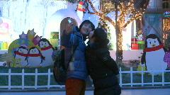 Asia China beijing Christmas people (2) Stock Footage