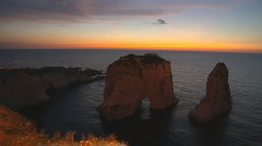 Beirut the Rock sunset Stock Footage