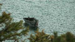 Wooden boat on  Baikal lake Stock Footage