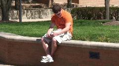 University Student Studying Outside Stock Footage