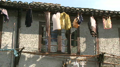 Downtown Shanghai Typical Street house details : laundry drying  Stock Footage