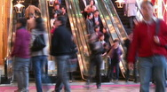 Stock Video Footage of Busy escalator and people