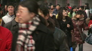 Stock Video Footage of Chinese people walking in downtown Shanghai, quite crowded