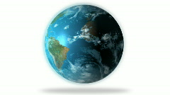 1080 HD Slowly Rotating Earth Globe Animation on white - stock footage