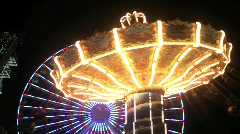 Swings Amusement Ride Stock Footage