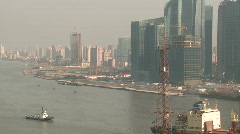 Shanghai Pudond River Boat traffic daylight TimeLapse Stock Footage