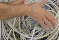 Structured wiring panel mess - stock footage