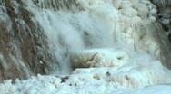 Stock Video Footage of Waterfall Partially Frozen