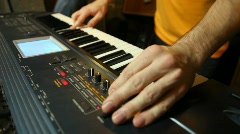Unidentified keyboard player playing in studio Stock Footage