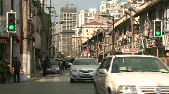 Shanghai downtown typical crossroads traffic  Stock Footage