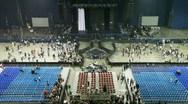 Panorama of an empty concert hall and leaving spectators Stock Footage