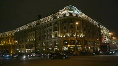 HD1080p Moscow by night - Hotel National City Traffic Stock Footage