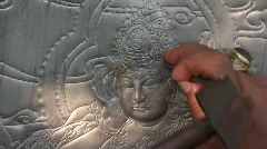 Thai Sculptor Engraver Artist makes Buddhist Art Engraving Traditional Carving  - stock footage