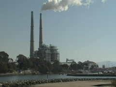 Natural Gas Power Plant on a harbor Stock Footage