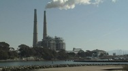 Stock Video Footage of Natural Gas Power Plant on a harbor