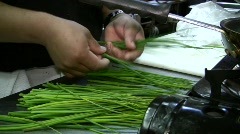 Worker Cutting Onions Vegetables Commercial Restaurant Kitchen Stock Footage