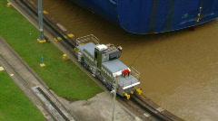Panama Canal Tug with ship (HD) Stock Footage