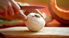 cutting turnip - stock footage
