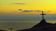 Cross on the sea Stock Footage