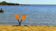 Oars in the Sand Stock Footage