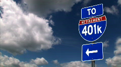 To Retirement 401K Road Sign Stock Footage