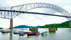 Boats under Bridge (HD) Stock Footage