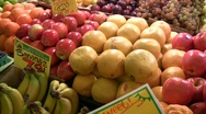 Stock Video Footage of Fruit in bins at farmers market, Seattle