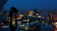Photographer on the roof 003 Stock Footage