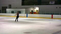 Figure skating axel jump02 Stock Footage