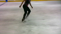 Figure skater sprays ice02 Stock Footage