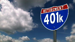 Stock Video Footage of Retirement 401K Directional Road Sign
