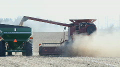 Stock Video Footage of Grain Harvest With Combine And Tractor