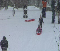 Girl Sleds down hill Stock Footage