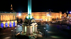 Square of independence in Kiev, Ukraine Stock Footage