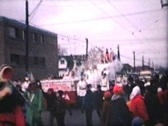 Stock Video Footage of Santa Claus Parade At Christmas (1964 Vintage 8mm film)