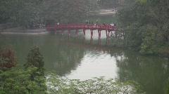 Huc bridge, Hanoi. Stock Footage