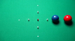 Balls on pool table. Detail Stock Footage