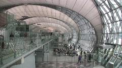 Airport Interior Suvarnabhumi International Airport, Bangkok, Thailand Stock Footage