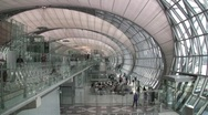 Airport Interior Suvarnabhumi International Airport, Bangkok, Thailand Stock Footage