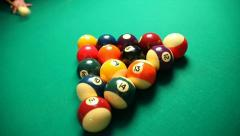 Pool table with balls, professional sport Stock Footage