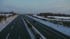 Stock Video Footage of HD1080i German Highway Autobahn snowy winter traffic